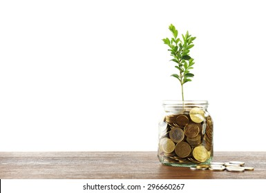 Money with growing sprout in glass jar on table isolated on white