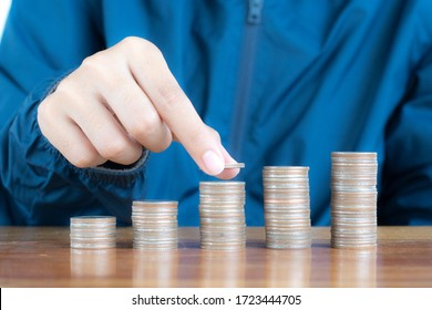 Money growth Saving money. coins to shown concept of growing business