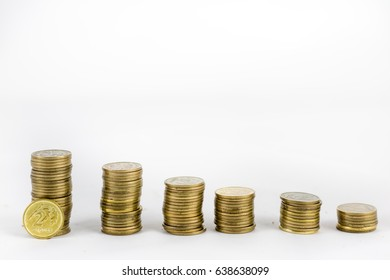 Money, growth,, savings. Coins on a white isolated background
