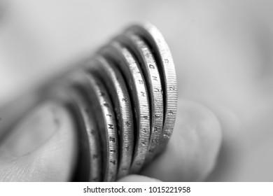 Money in a hand in black white