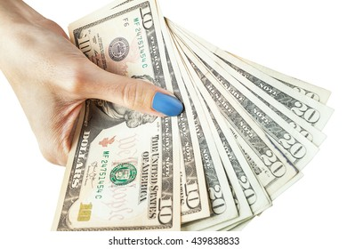 Money in the hand, Hand with money, Hand holding Banknotes and counting for give or pay bill, can use as financial or business background