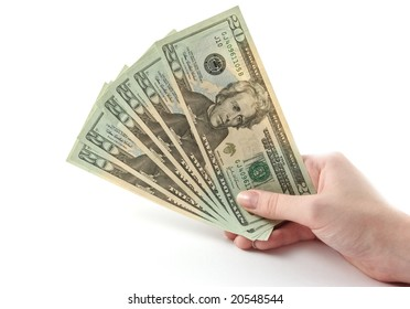 Money in hand isolated over white