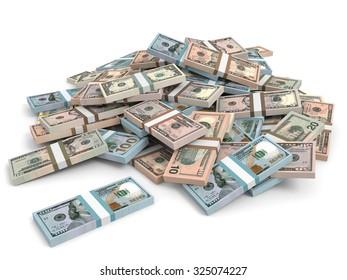 Money heap. Different dollar bank notes.3D illustration.