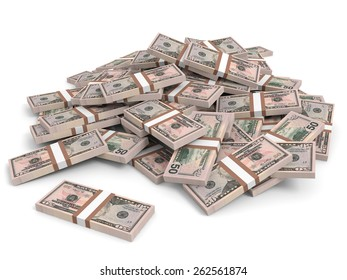 Money heap on white background. Fifty dollars. 3D illustration.