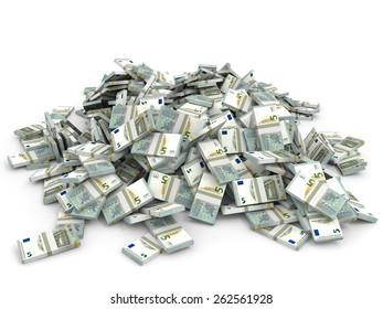 Money heap on white background. Five euros. 3D illustration.