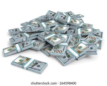 Money heap on white background. One hundred dollars. 3D illustration.
