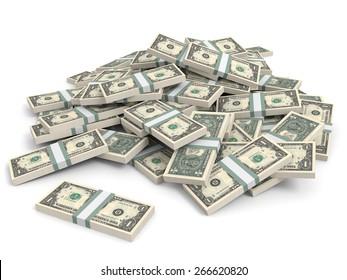 Money heap on white background. One dollar. 3D illustration.
