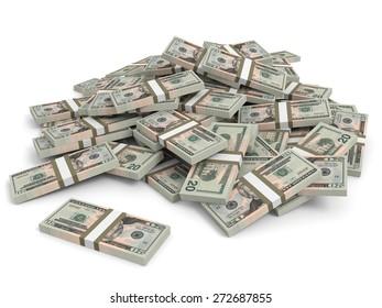 Money heap on white background. Twenty dollars. 3D illustration.