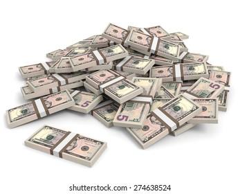 Money heap on white background. Five dollars. 3D illustration.