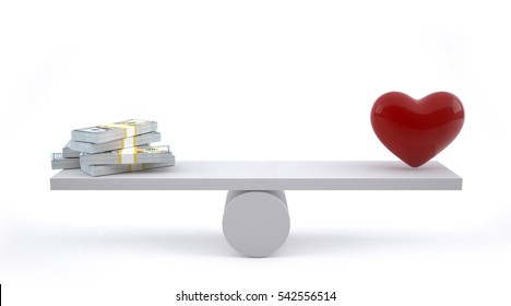 Money and heart on a balance scale.3D Rendering.
