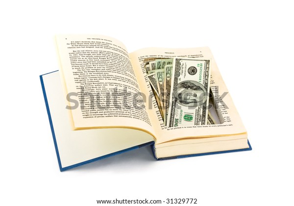 Money Hidden in a Book Safe Isolated on White Background