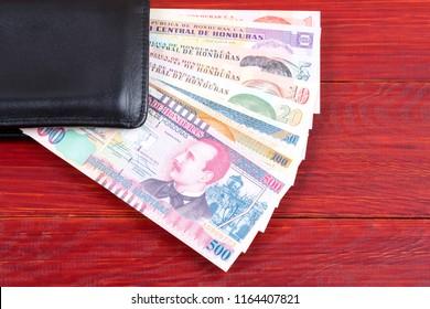Money from Honduras in the black wallet