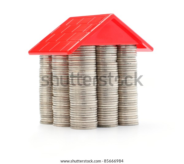 Money house made from lots of coins
