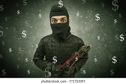 Money hungry thief in black clothes and tolls on his hand.
