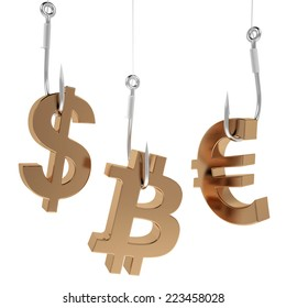 Money icon on fish hooks isolated on white background.