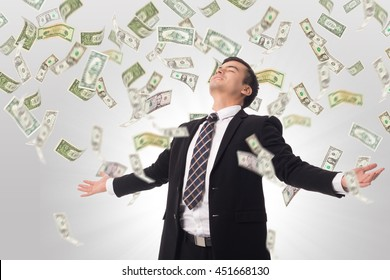 Money increase .Businessman happiness after got good growing income in his business.