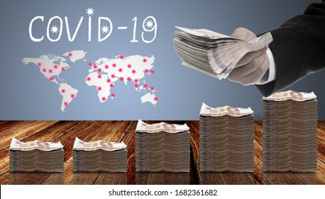 Money injection to economy for covid-19 epidemic concept, Politician offer distribute money policy