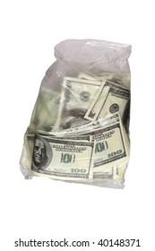 Money inside transparent plastic bag isolated on white with clipping path