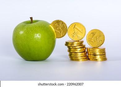 money into green apple
