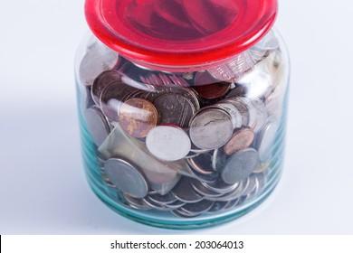 Money jar with isolate white background