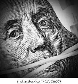 Money keeps silent. Corruption and crime concept
