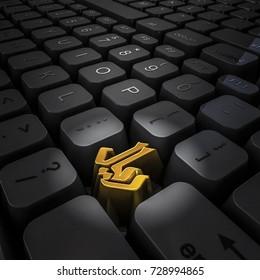 Money key riyal / 3D illustration of computer keyboard with gold riyal symbol key