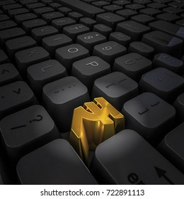Money key rupee / 3D illustration of computer keyboard with gold rupee key