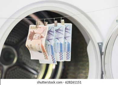 Money Laundering, Currency, Clothesline. Banknotes hanging on a cord in front of washing machine or drying machine.