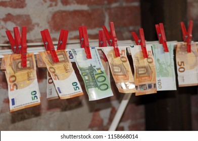 Money laundering euro notes on the clothesline