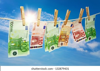 Money laundering on clothesline