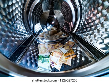 Money laundering symbol, euro banknotes in washing machine with the door open