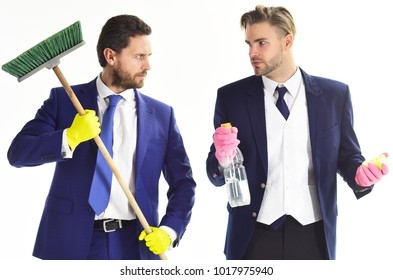 Money laundry, dirty money. Busy people with beards and mop. Men in formal suits with serious faces and sweep. Manager and analyst hold cleaning supplies. Cleaning service, teamwork concept.