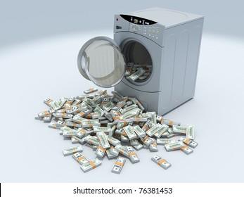 Money laundry and washing machine isolated on white background