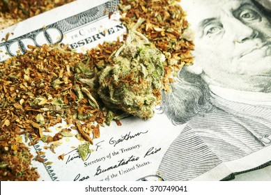 Money from the Legal American Marijuana Business, Cannabis Buds and a Hundred Dollar Bill