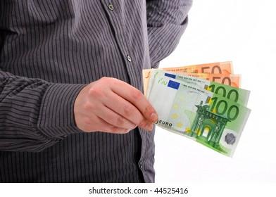Money loan, man holding euro money.