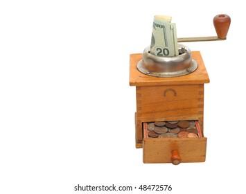 Money machine - banknote in a coffee grinder