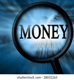 money with magnifier on a blue background