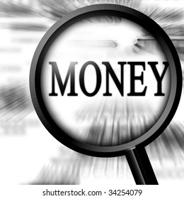 money with magnifier on a white background