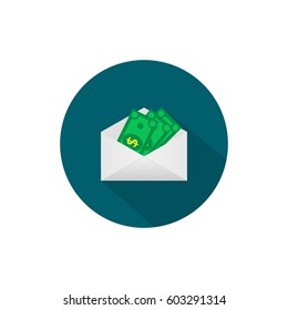 Money in the mail envelope. Cash Icon in flat style. Dollar banknote green. Raster copy.