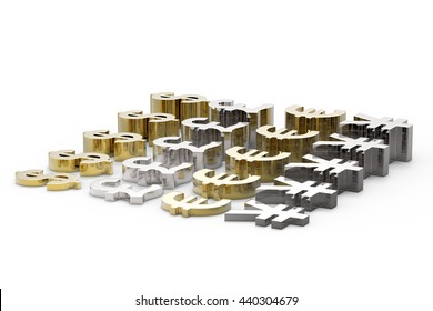 Money Making / Dollar, Euro, Pound and Yen in Gold and Silver / 3D Rendering