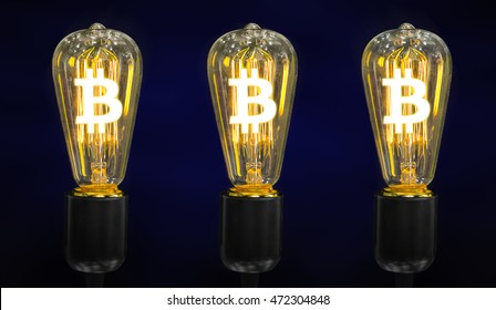 Money making idea. Light bulb with Bitcoin symbol.