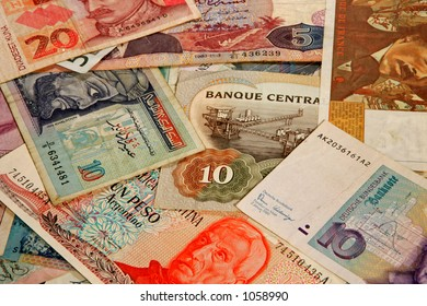 Money from many different countries