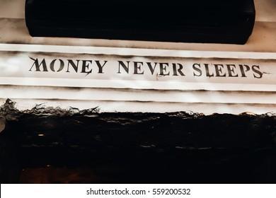 Money never sleep letters wallstreet style
