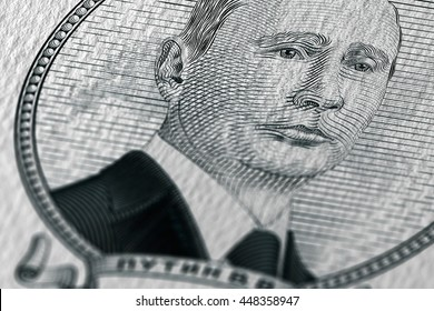 Money note style portrait of russian president Vladimir Putin