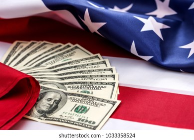 the money on the American flag is close up