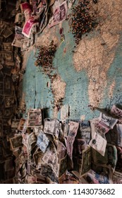 Money On Map In Hackberry General Store, Arizona