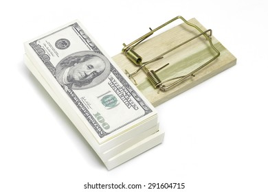 money on mouse trap white background
