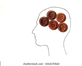 Money On My Mind. Head silhouette with one pence coins instead of brain