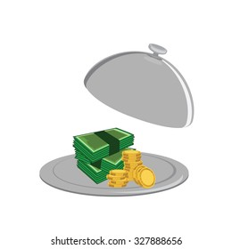 Lot of money on the serve plate. Tray with stack of golden coins and banknotes raster illustration