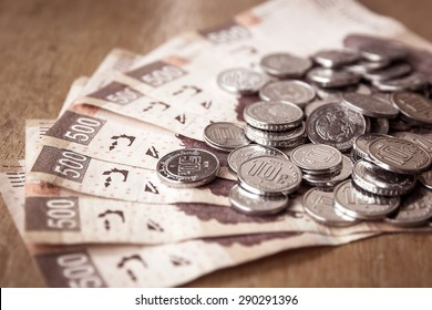 Money on the table, mexican pesos